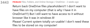 Screenshot of upvotes for OneDrive Placeholders.