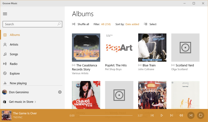 Screenshot of Windows 10's Groove Music Application