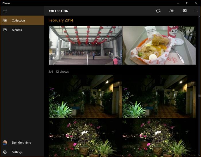 Screenshot of Windows 10's Photos App