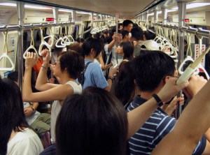 A fully-packed Taipei Metro Train